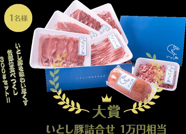 大賞 いとし豚詰合せ1万円相当 1名様 いとし豚を味わい尽くす各部位食べつくし300gセット!! ※写真はイメージです